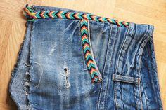 Chevron friendship bracelet design sewn onto shorts