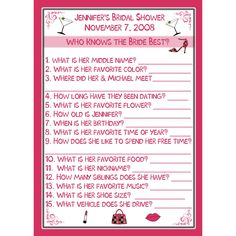 24 Bridal Shower Game Cards - Who Knows the Bride Best- Personalized. $14.00 USD, via Etsy.