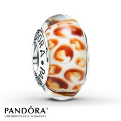 Pandora Orange Python Glass Charm Sterling Silver ($35).. uniquely cool !