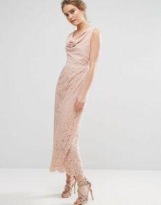 Oasis Premium Lace Cowl Neck Maxi Dress