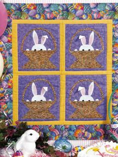 Easter Quilt Wall Hanging Idea ~ Machine embroider the bunnies and scallop the edges of the quilt. Use basket weave fabric for the baskets.