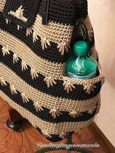 Elements of The Perfect - Mochila em crochê com bolso - Crochet Backpack Pattern, Crochet Tote, Tote Pattern, Crochet Handbags, Crochet Purses, Crochet Pattern, Crotchet Bags, Knitted Bags, Diy Drawstring Purse