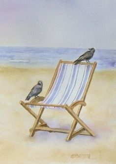 Watercolor Greeting Card Ideas | Crows at the beach watercolor painting by Teresa Silvestri.