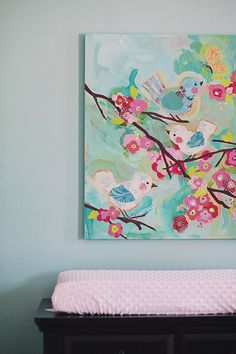 Aqua & Pink nursery!  I like the idea of finding a piece of art that is vibrant in color and building the nursery around it!