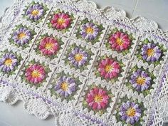 Receita Tapete Floral Rosa/Lilás