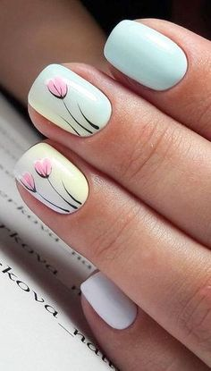 nail art design ideas for spring Tulip Nails, Lily Nails, Rose Nails, Cute Acrylic Nails, Fun Nails, Pastel Nails, Square Nail Designs, Nail Art Designs, Sunflower Nails