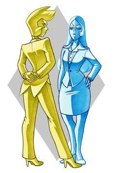 Blue diamond and yellow diamond
