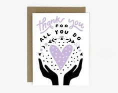 Thank You For All You Do Magical Screen Printed Folding Thank You Card Thank You Notes, Thank You Gifts, Thank You Cards, Appreciation Message, Mother Card, Mothers Day Quotes, Silk Screen Printing, Kraft Envelopes, Journal Notebook