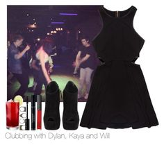 """""""Clubbing with Dylan, Kaya and Will"""" by normalpeoplescaresme ❤ liked on Polyvore featuring NARS Cosmetics, Giuseppe Zanotti and Pull&Bear"""