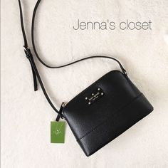 """⚜Kate Spade⚜Hanna Wellesley Black Cross body ✨Brand New with tag⚜Kate Spade⚜ New York Hanna Wellesley Crossbody bag✨Guarantee Authentic• Comes with tag and shopping bag⚜ Available on Ⓜ️erc for less   Color: BlackZippered top closure with Kate Spade license plate logo in front, hanging cutout spade keychain on side. Open slip pocket  Adjustable cross body strap with 19"""" drop Dimensions 9 x 6 x 3 kate spade Bags Crossbody Bags"""