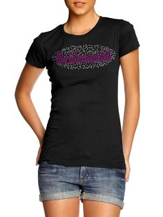 ANY SIZE LADIES T REX DINOSAUR CRYSTAL DIAMANTE DESIGN FITTED T SHIRT