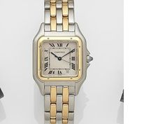 a82137766a99 Cartier. A stainless steel and gold quartz calendar bracelet watch  Panthère