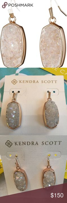 "NWT Kendra Scott Danay Iridescent Drusy/Rose Gold These are amazing! Brand new with tags, these genuine Kendra Scott earrings stunningly reflect the light and will dazzle! In the warmest of rose gold, the sparkly white iridescent stones make this the perfect combination. 1.5"" long x .56"" wide. Comes with tags and signature Kendra blue dustbag. Retail $195. Please no lowball offers. Kendra Scott Jewelry Earrings"