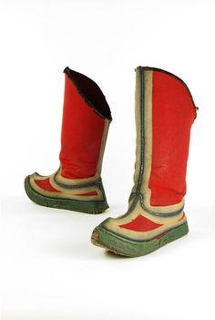 Bata Shoe Museum: These Tibetan Jhalaam boots with red uppers and blue and white embroidery's were worn by ministers