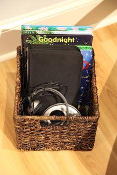 Audio Book Basket. Organization for Audio books.