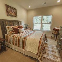 Clean and simple western inspired bedding for the home Rustic Romantic Bedroom, Shabby Chic Master Bedroom, Shabby Chic Headboard, Modern Master Bedroom, Bedding Master Bedroom, Home Bedroom, Bedroom Decor, Bedroom Interiors, Western Bedrooms