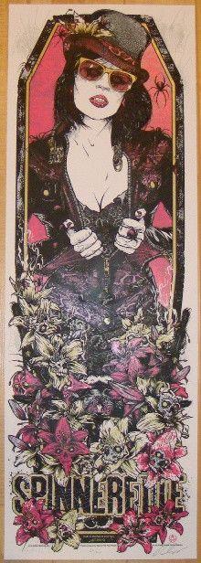 2010 Spinnerette - Pink Silkscreen Concert Poster by Rhys Cooper