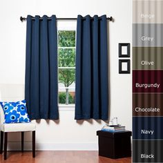 "Best Home Fashion Thermal Insulated Blackout Curtain - Antique Bronze Grommet Top - Navy - 52""W x 63""L - (1 Panel) - Top Blackout Curtains"