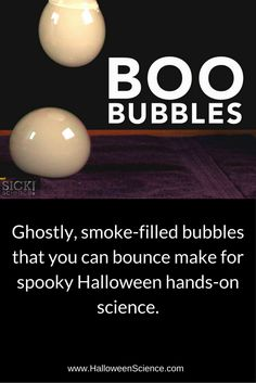 Boo Bubbles - Dry Ice Smoke Bubbles Bubbles are cool and bubbles filled with fog are even cooler! Steve Spangler created Boo Bubbles as an easy and safe way for parents and teachers to explore the science of dry ice with fog-filled bubbles. Science Party, Mad Science, Preschool Science, Science Classroom, Teaching Science, Science Activities, Bubble Activities, Science Chemistry, Physical Science