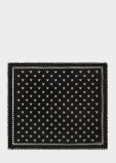 Greek Medusa Shawl from Versace Women's Collection. The Greek Medusa silk modal shawl has an aesthetic, steeped in iconic history and beauty. Studded Leather, Leather Pouch, Versace Fashion, Small Leather Goods, Medusa, Women's Accessories, Shawl, Greek, Black And White