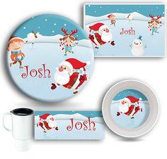 Figure Skating Santa Claus DINNERWARE SET by TheSportzyCupboard