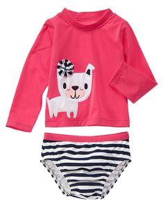 Gymboree Toddler Girl Just Rosy Cabana Pink Pretty Pup Rash Guard Set