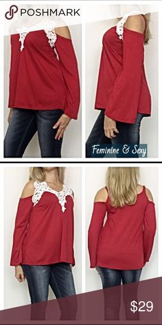 """Feminine Sexy Lace Cold Shoulder Peasant Top SMLXL Absolutely beautiful lace collar cold shoulder peasant top in red & ivory. A mix of feminine & sexy all in one. Poly/cotton blend.   ❤️Small Bust 32-34 Length 24"""" ❤️Medium Bust 34-36 Length 24.5"""" ❤️Large Bust 36-38 Length 25"""" ❤️XL Bust 38-40 Length 25.5"""" Tops"""