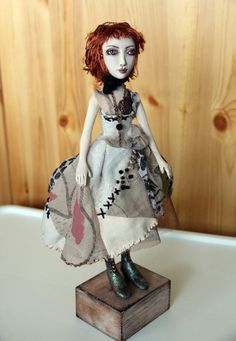 Art Doll One of A Kind Clay Beautiful Shabby by elenaoriginals