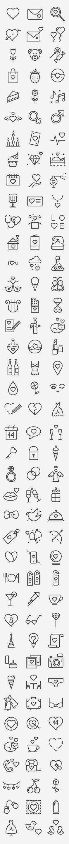 발렌타인데이 아이콘 120개 .AI