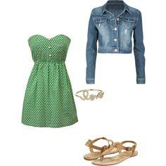 Green Strapless Dress :)