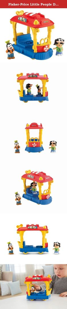 """Fisher-Price Little People Disney Jolly Trolley. All aboard! Take Little People Koby, Goofy and your child's imagination on a fun, magical ride! Koby's ready for a day at Disneyland with his Goofy hat and Disney pal to come along for the ride. Your little tour guide can put them on the Jolly Trolley and push down on the driver's seat to hear fun sounds and music as they """"wobble"""" along. Next stop? Fantasyland or maybe Cinderella's Castle!."""