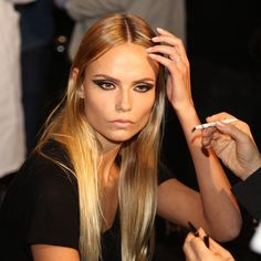Natasha Poly Versace Couture S/S 2015 backstage