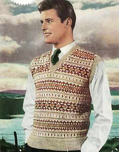 Vintage fair isle designs- vintage mens 1950s fair isle design knitting pattern- is that Roger Moore (who later became James Bond) as the model?