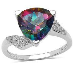JewelzDirect 925 Sterling Silver Trillion Cut Mystic Topaz Ring