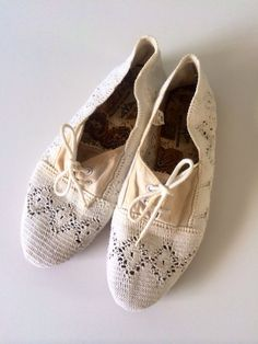 Vintage Lace Shoes Doily Off White Spring Summer Flats Women Size 10 on Etsy, $22.00