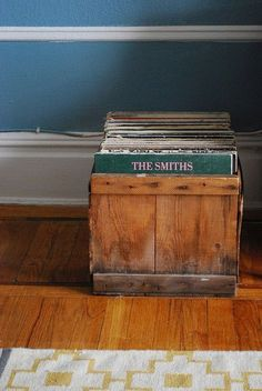old wooden box for record storage