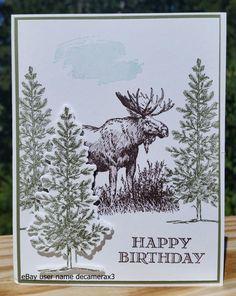 BIRTHDAY HANDMADE CARD KIT, STAMPIN UP WALK IN THE WILD, MOOSE, LOVELY AS A TREE #HandmadeStampinUp #BirthdayAdult