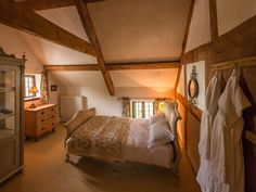 Double bedroom (bath robes not included) Double Bedroom, One Bedroom, Dream Bedroom, Country Cottage Interiors, Cottage Style, Boudoir, Holiday Cottages To Rent, Welsh Cottage, Log Burning Stoves