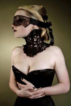 Photography by Image Model: Hexabelle. 'Elegant Victorian inspired black lace neck corset' by Karen von Oppen. Gothic Fashion, Look Fashion, High Fashion, Dark Beauty, Posture Collar, Lace Mask, Victorian Steampunk, Modern Victorian, Victorian Lace