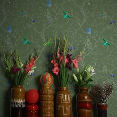 Butterflies RUS/BFL/MICA/05 - green botanical wallpaper with butterflies by Timorous Beasties available through NewWall | NewWall.com