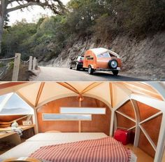 Small camper can be towed using the family car. This beautiful handbuilt teardrop camper design won Dwell's Best of Outdoor award. | Tiny Homes