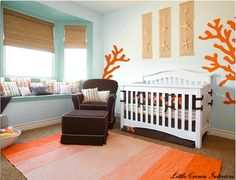 Little Crown Interiors, bumpers with brown and orange.  fave sheet from serena and lilly