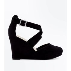 Wide Fit Black Comfort Suedette Strappy Wedges (125 PEN) ❤ liked on Polyvore featuring shoes, sandals, ankle strap wedge sandals, black strap sandals, black wedge shoes, strappy sandals and wide width wedge sandals