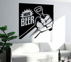 Бесплатная доставка стикер стены винила термоаппликации наклейка на стену забавный пить пиво нужно больше пивной бар декор магазин украшения(China (Mainland))