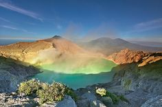 The world's largest acidic volcanic crater lake, Ijen Crater