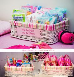 fun idea - place those baskets in the bathroom fpr wedding guests - fill them with Flip Flops, Deo, Hairspray, Headache Pills etc.