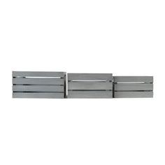 Distressed Grey 13.4'W x 9.5'H Nesting Storage Crates, Set of Three