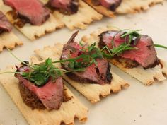 Wild Mushroom and San Marzano Tomato Spread on Croccantini topped with Grilled Beef Tenderloin and Baby Italian Herbs. Paired with Counoise ...