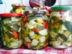 Kuchnia domowa Ani: Sałatka z cukinii i papryki na zimę Fruit Salad, Preserves, Pickles, Potato Salad, Menu, Potatoes, Canning, Chicken, Ethnic Recipes