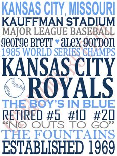 Subway Art/Typography Kansas City Royals. MLB. Baseball 'rustic' Looking Canvas by CreationsbyCLM, $30.00